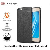 Case Leather Auto Focus for Vivo Y69 - Motif Kulit Jeruk