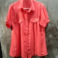 Baju Atasan Kemeja Wanita warna peach preloved