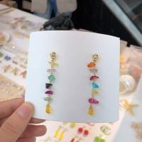 Anting Colorful stone tassel earring