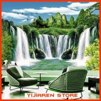 3D Wallpaper Dinding Wall Sticker Custom Air Terjun Waterfall 011