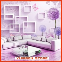 3D Wallpaper Dinding | Wall Sticker Custome | Square Dandelion Ungu