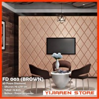 WALLPAPER FOAM 3D BELAH KETUPAT DIAMOND COKLAT BROWN FD-03 70x70cm