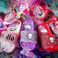 Sandal Selop karet gliter Hello Kitty Anak perempuan