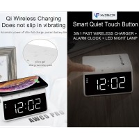 Ultimate Power Wireless Fast Charger 3in1 Alarm Clock Lamp Night AWC5