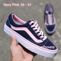 Vans oldskool navy pink Sepatu wanita