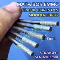 Mata Bor eMMC Silinder Rata 3mm Lurus Straight Shank Grafir Ukir Kaca