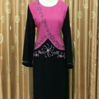 Baju Gamis Muslim wanita Kombinasi Warna