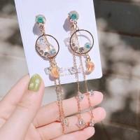 Anting korea moon and star tassel earring
