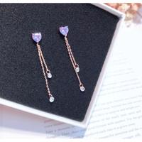 Anting korea love purple tassel earring