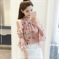 Blus Model Cold Shoulder Lengan Flare Kerah Tegak Print Bunga Bahan Si