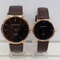 jam tangan alexandre christie ac 8625 couple coklat rose gold