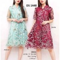 DS1448 dress pesta dress natal tile lace brukat bordir import