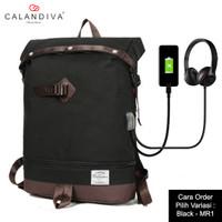 Calandiva Tas Ransel Pria Backpack Unisex USB Kabel Headset Port - MR1