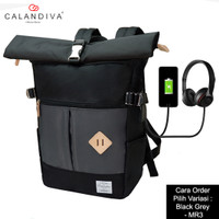 Calandiva Tas Ransel Pria Backpack Unisex USB Kabel Headset Port - MR3