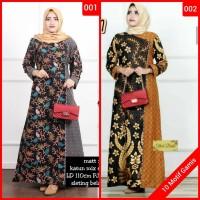 Gamis baju wanita terbaru gamis plisket syari batik mix embos modern