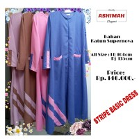 Stripe Basic Dress Biru/Gamis/Gamis Syari