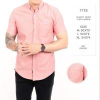 Kemeja Pria Lengan Pendek Pink / Kemeja Polos Merah Muda
