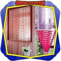 R041 Tirai Benang Gorden Motif Love Korea Dekorasi Pintu Kamar Tidur