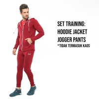 FLEXZONE Set Jaket Jogger - Maroon- Gym Fitness Lari Jogging FXS-009MG