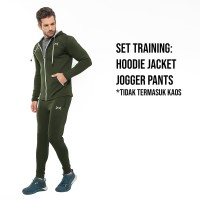 FLEXZONE Set Jaket Jogger - Army - Gym Fitness Lari Jogging FXS-009AR