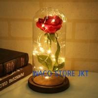 Bunga Mawar Lampu LED Dekorasi Beauty and The Beast Rose Romantis Kado
