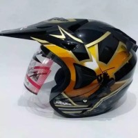 Helm ARL Semi Cross Half Face Double Visor Samurai Hitam