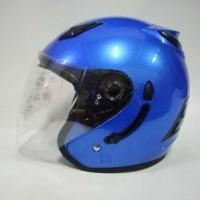Helm ARL Centro Half Face Double Visor Biru polos.