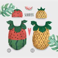 Baju Renang Bayi Anak Bayi / Baby Swimwear IMUNDEX Nanas / Strawberry - Strawberry, 2-3 tahun