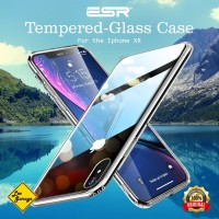 iPhone XR Case ESR Tempered Glass Back Soft TPU Original