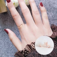 Korea Ring 18K Titanium Steel Rose Gold Tail Frosted Elf 036C8Br
