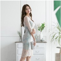 Women Backless Wrap Bodycon Slim Midi Lace Dress Elegant Party Cocktai
