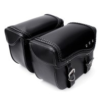 PU Leather Motorcycle Saddlebags Side Luggage Pannier Tool