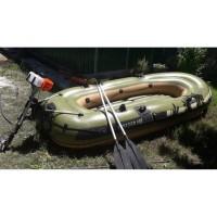 Perahu Karet 4 orang untuk danau,laut bisa pakai mesin,dayung 2,Pompa