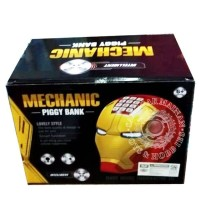 Mainan ATM Banking Mechanic Piggy Bank Iron Man Head