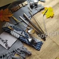 Sendok Set Korea Alat Makan Garpu Sumpit Sedotan Stainless Mewah - Silver