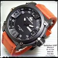 jam tangan pria jam tangan cowo quicksilver elegant murah - Cokelat