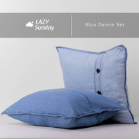 Sarung Bantal Kursi Sofa Denim 40x40 cm - LAZY Sunday - - Blue Denim Set