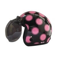 Helm Igloo Retro Moon Black Pink + Kaca