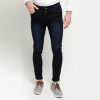 Celana Jeans Panjang Pria Celana Jeans Cowok Skinny Jeans Denim Navy - navy, 28