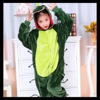 Baju Onesie Boneka Dino Dinosaurus Hijau (Anak) Piyama Kostum - 130Cm,