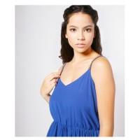 short dress blouse tangtop tanpa lengan - biru