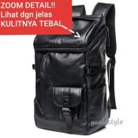 backpack tas ransel pria kulit / tas punggung besar HITAM