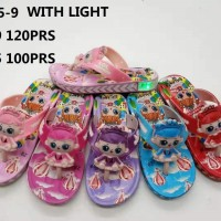 Sandal lampu LED kepala LOL Bunyi Anak Perempuan