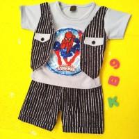Setelan baju anak bayi laki gambar spiderman bisa berbunyi /baju bayi