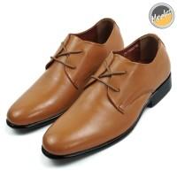 Sepatu Pantofel Pria Formal Model Tali Kulit Asli 2 Hole M7940 Tan
