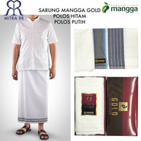 Sarung MANGGA Gold Hitam Solid & Putih Polos Satuan / Grosir Dewasa