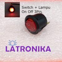 Switch Bulat Lampu Saklar Bulat Dengan Lampu Switch On Off Panel 3Pin