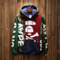 Jacket Hoodie Aape multicolor floral stitching white print hoodies