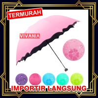 Payung Lipat 3D Magic Umbrella Dimensi Lapisan Hitam ANTI UV