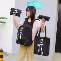 Diskon Tas Ransel Wanita Lucu Korea 4 in 1 / Tas Sekolah